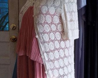 Treasury Featured Delicate Vintage 1950s Crochet Silk Lace Cardigan
