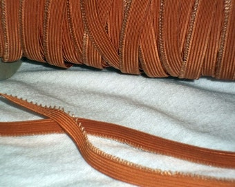 Old Fashioned Hollywood Color Woven Picot Edge Elastic Comfy Panties Slips Headbands Lustrous Nudie Copper 2 YDS