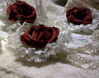 Old Roses and Lace Victorian Shabby Pin Brooch Saucy Steampunk Trim Dusty Burgundy