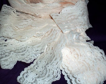 "Ivory Blush Garter Lace Stretch Entredeaux For Those Hidaway Nights 2 1/2"" Wide BTY"