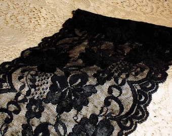 "Black Pansy Garden Wide Stretch Lace 6""Wide"