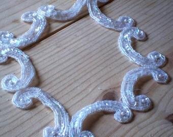 """B 200 Vintage Bridal Destash 1980s Shop Sequin and Crystal Frame 9 1/2"""" Long X 8"""" W"""