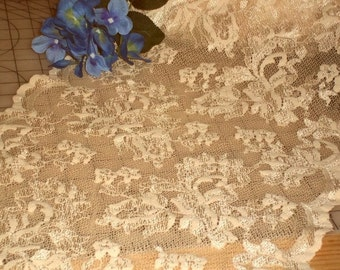 Gorgeously Lush 14 Inch Wide Drambuie Cream Embroidered Floral Stretch Lace Mesh BTY
