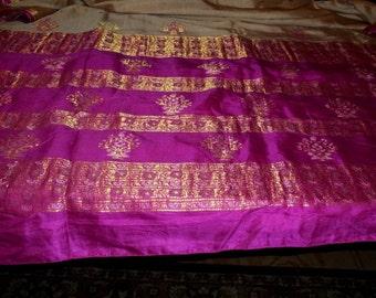 Vintage Wedding Magenta Pure Silk Sari Metallic Belly Dance Veil Fabric 5 Yards Gold Cerise S 34