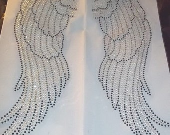 IA 1 Gorgeous  Embroidered Professional Applique Iron On Large Angel Wings Arum Aurora Borealis