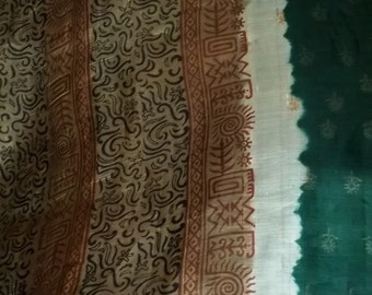 S 18 Darkest Cedar Khaki and Terra CottaVintage Silk Sari Pallu Belly Dance Veil Dress Gown Fabric 5 Plus Yards