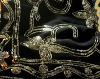 S 58 Sari  Heavy Sequins Metallic Embroidery Art Silk ChiffonBelly Dance Veil Fabric 5 Plus Yards Gold Black