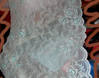"Mint Julep Lace Stretch Lingerie 9 1/2"" Wide BTY"