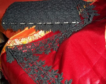 """Black Gros Pointe Venise 2  3/4"""" Wide Plus Dangling Leaves Edging Lace Trim BTY"""