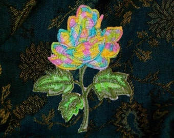 Dead Rose Society Flower Applique Trim Groovy Psychedilic Rose Acid Colors 1 PC