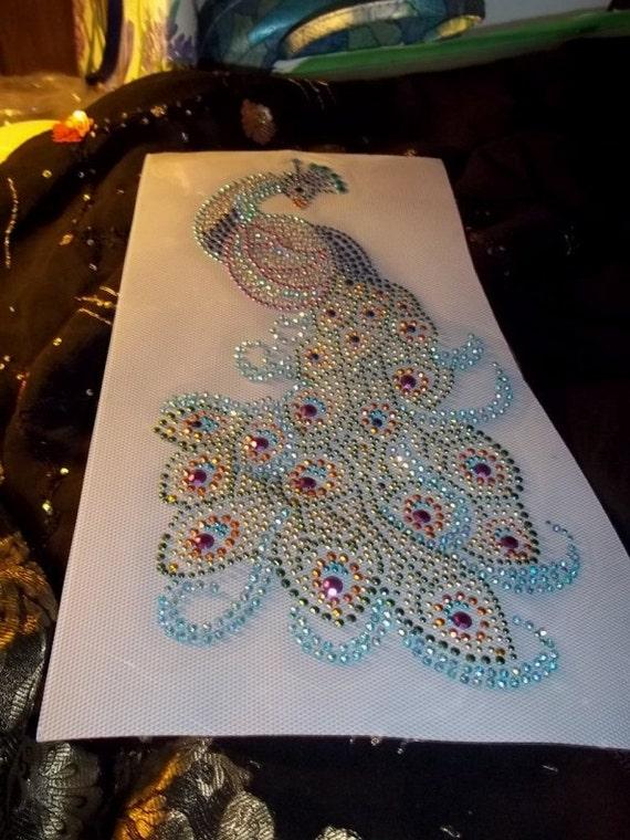 IA 2 Gorgeous  Embroidered Professional Applique Iron On Large Peacock Arum Aurora Borealis