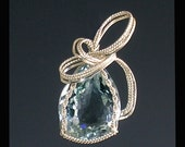Wire Sculpted Aquamarine Sterling Silver Pendant