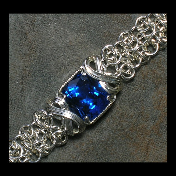 Sterling SIlver and Wire Wrapped Blue Topaz Chainmaille Bracelet