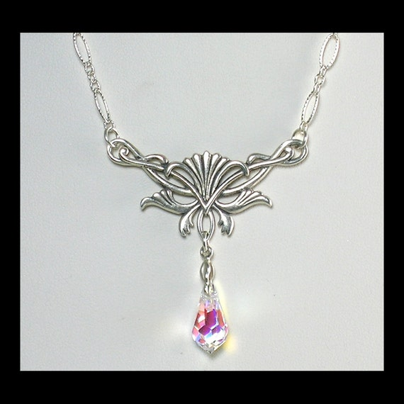 Sterling Silver Necklace with Swarovski Crystal AB Drop