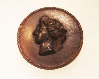 Vintage Black Cameo Button possibly Goodyear 1800s, poss. dyed pressed horn, possibly rubber.  reduced for the holidays!