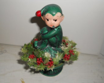 vintage '60s Holiday Pixie Christmas Holly Red and Green