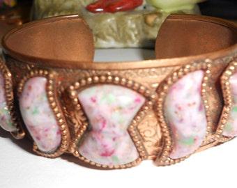 vintage copper cuff bracelet with lucite confetti stones
