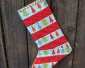 Blue Trees and Red Circle Holiday Stocking READY TO SHIP