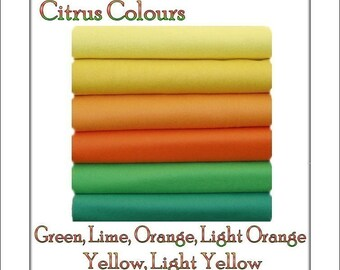 Felt Fabric  Chemical Free Squares  Citrus Shades  12 squares - 12 x 10