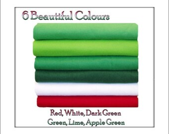 Wool Felt Fabric Squares, Green/Red Shades 12 squares