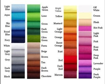 Wool Felt - Choose your own colours  - 24 squares - 12 x 10
