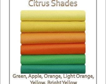 Wool Felt Fabric Squares  Citrus Shades 12 squares - 12 x 10