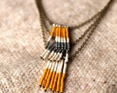 Tri level Beaded Necklace - Mustard