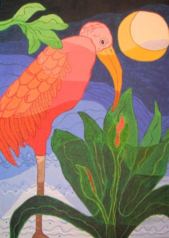Pink Ibis Print