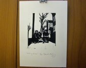 Riding Bikes - Limited Edition Linocut