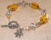 Chunky Yellow Bracelet, Sunflower, 2XAB, Citrine Quartz, Swarovski Crystal, Charm, Sterling Silver, Bali, Handmade Jewelry