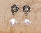 Freshwater Coin Peal and Sterling Silver Earrings, Post, Bali, Handmade Jewelry