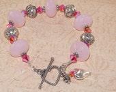 Pink Bracelet, Quartz, Swarovski, Crystal, Fire Opal, 2x AB, Bali, Sterling Silver, Heart, Handmade Jewelry