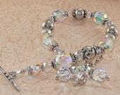 Swarovski Crystal Bracelet, Sterling Silver, Dangle, Clear, White, Handmade Jewelry