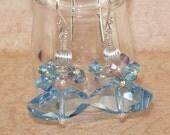 Aquamarine Crystal Earrings, Galactic,  Swarovski, Dangle, Cluster, Stacked, Aquamarine, Sterling Silver, Handmade Jewelry