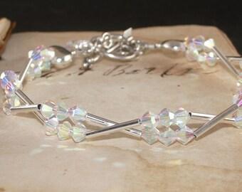 Crystal  Bracelet, Sterling Silver, Swarovski, 2x AB, Charm, Tube, Heart, Handmade Jewelry
