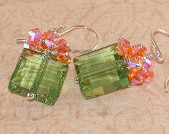 Peridot Crystal Earrings, Swarovski, Green, Stacked, Cluster, 2xAB, Orange, Handmade Jewelry