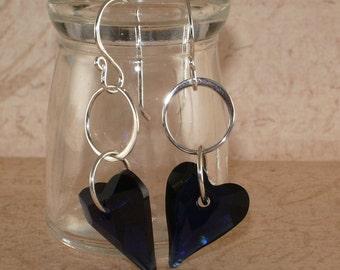 Dark Blue Heart Earrings, Swarovski, Dark Indigo, Wild Heart, Crystal, Sterling Silver, Dangle, Handmade Jewelry