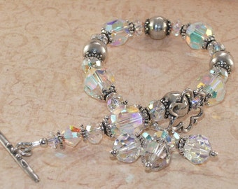 Swarovski Crystal Bracelet, Sterling Silver, Dangle, Clear, White, Handmade Jewelry