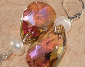 Crystal Earrings, Swarovski, Freshwater Pearl, Wire Wrapped, Sterling Silver, Handmade Jewelry