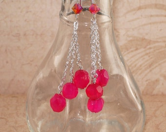 Dangle Earrings, Chalcedony, Hot Pink, Sterling Silver, Chain, Swarovski, Crystal, Fire Opal, 2x AB, Handmade Jewelry