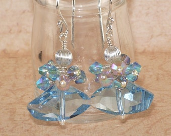 Aquamarine Crystal Earrings, Galactic,  Swarovski, Dangle, Cluster, Stacked, Aquamarine, Sterling Silver, Handmade Jewelry