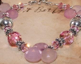 Pink Gem Bracelet, Swarovski, Crystal, Pink Mystic Topaz, Sterling Silver, Charm, Chalcedony, Handmade Jewelry, DDurda