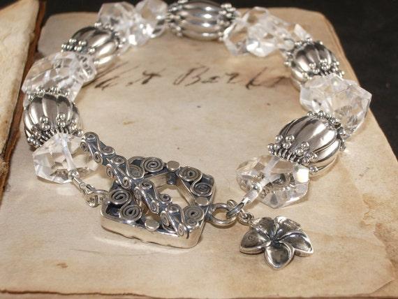 Chunky Rock Crystal and Sterling Silver Bracelet