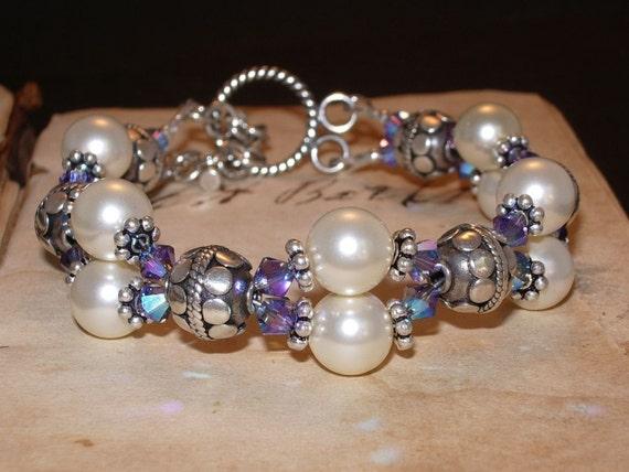 Pearl and Crystal Bracelet, Swarovski, Tanzanite, 2XAB, Bali, Sterling Silver, 2 Strand, Handmade Jewelry