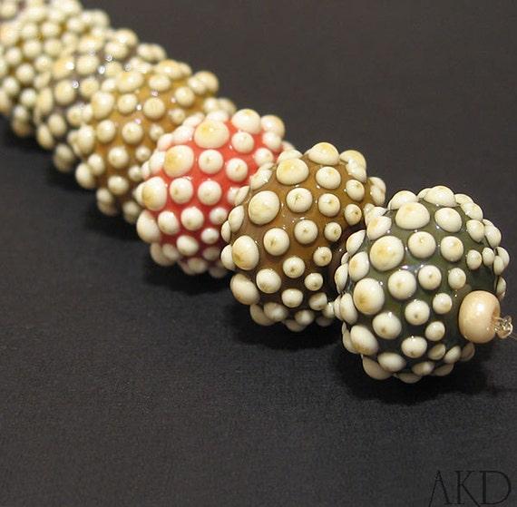 Handmade Lampwork Beads Set, Round Glass Dot Beads AKDesigns Hipster Bon Bons