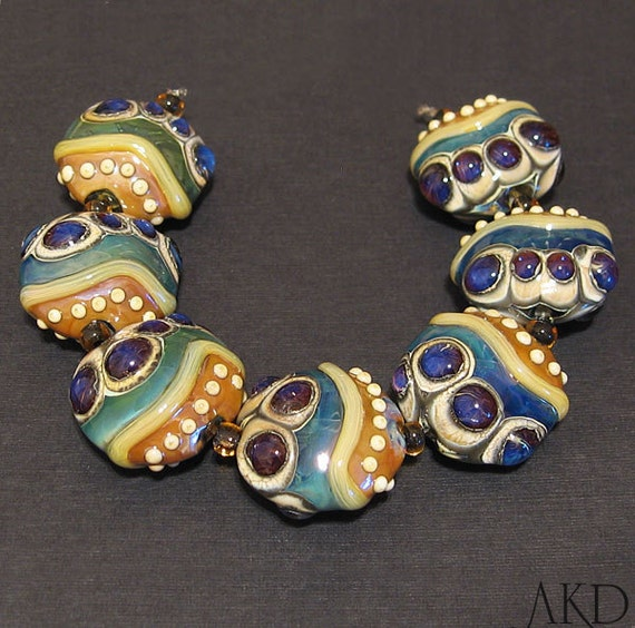 Glass Lampwork Bead Set, Handmade SRA Purple & Teal Lentils AKDesigns Wicked Iris