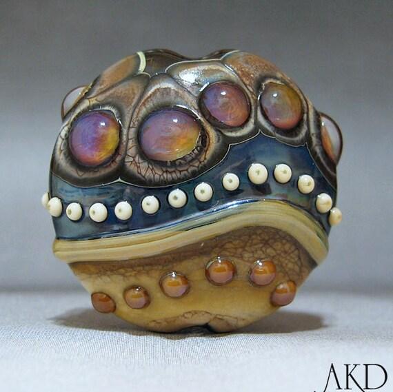 Focal Lampwork Bead SRA Handmade OOAK Glass Lentil Bead, Wicked Wild Rose