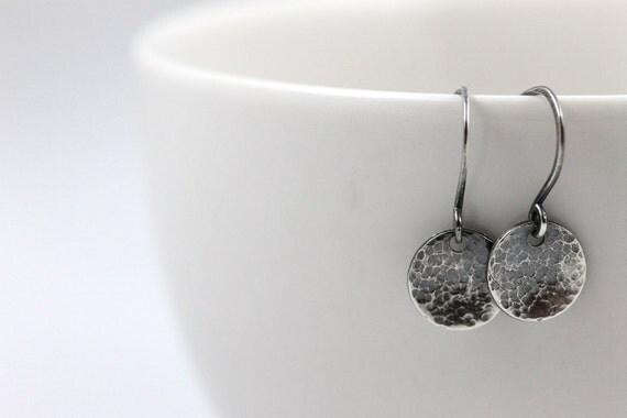 Minimal Earrings, Oxidized Sterling Silver Earrings, Small Dainty earrings, Dangle earrings, Drop earrings, Gift for Her, Lustrous Elements