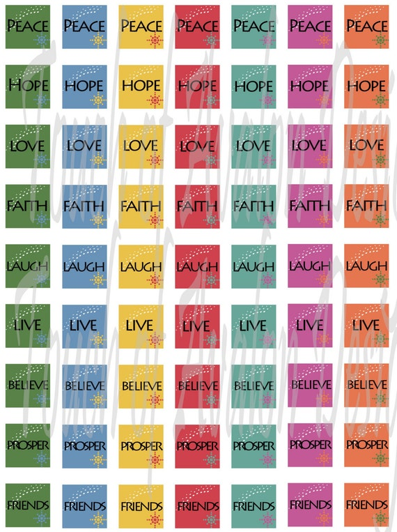 inspirational words scrabble tile collage sheet by touchofavalon