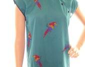 BIG SALE Vintage 70s Bird of Paradise Aquamarine Top ILGWU Tags